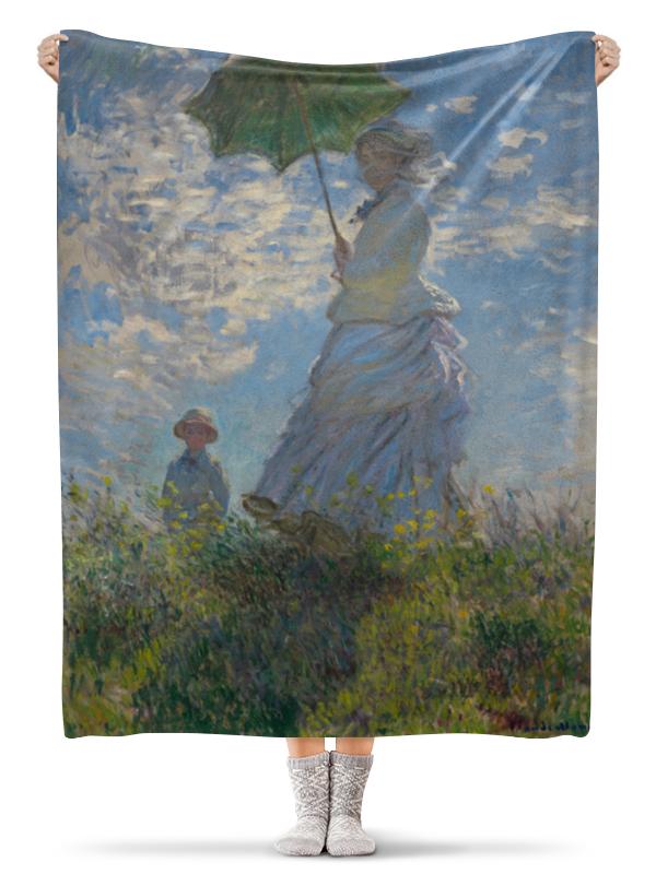 Плед флисовый 130х170 см Printio Дама  зонтиком — мадам моне  своим сыном