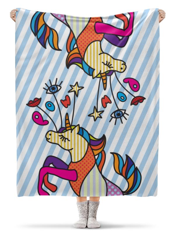 купить Плед флисовый 130х170 см Printio Единорог в стиле поп арт по цене 2300 рублей