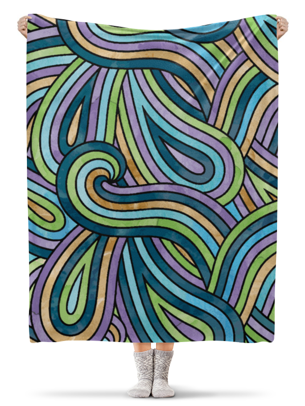 Плед флисовый 130х170 см Printio Волнистый плед отк разноцветные киски на желтом 75х100 см