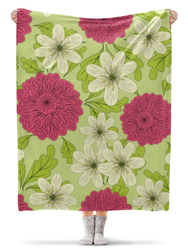 Плед флисовый 130х170 см Printio Садовые цветы лейки садовые ведра