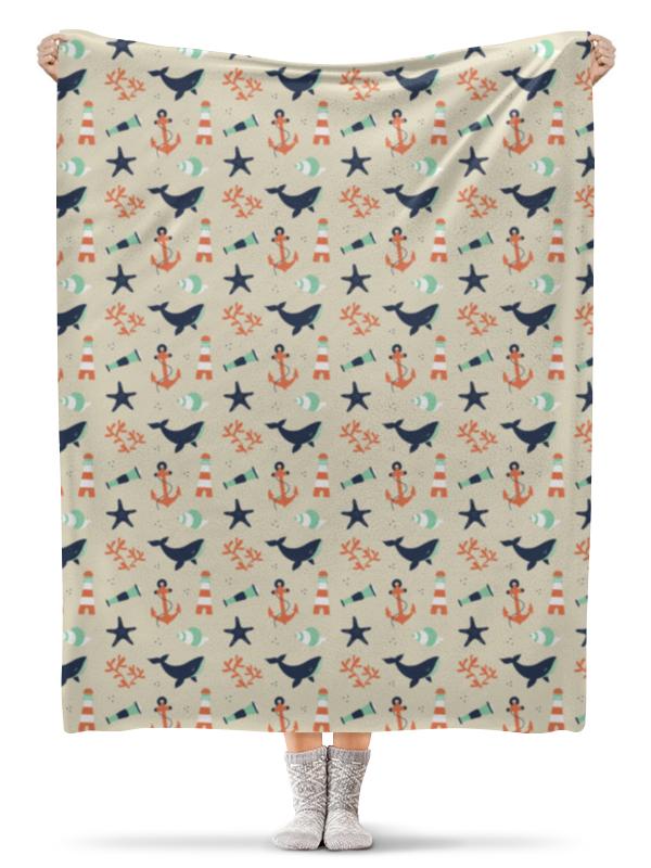 Плед флисовый 130х170 см Printio Акулы