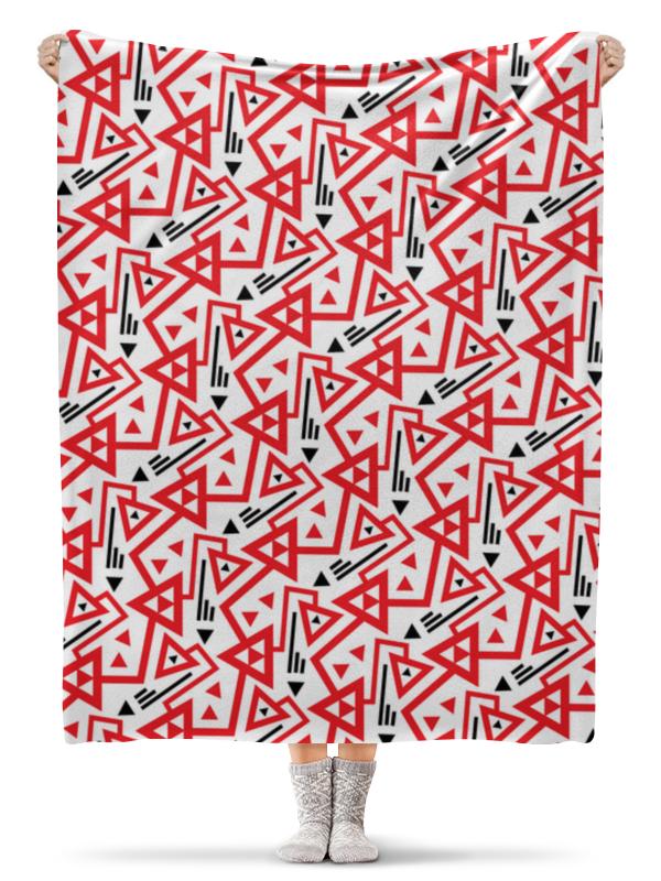 Плед флисовый 130х170 см Printio Красные треугольнки и стрелки homegeek белый черный