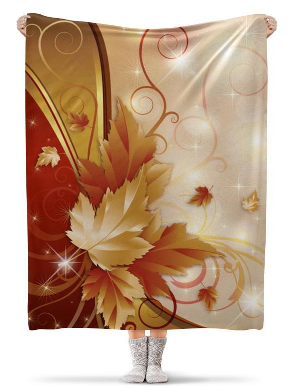 Плед флисовый 130х170 см Printio Осенние листья длинные осенние кaрдигaны