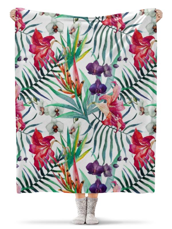 Плед флисовый 130х170 см Printio Экзотические цветы