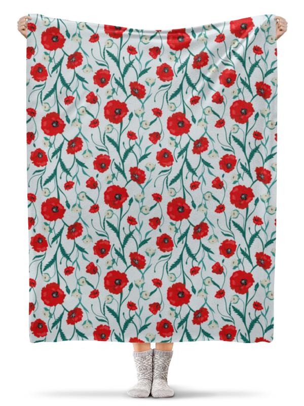 Плед флисовый 130х170 см Printio Красные маки на белом фоне бомбер printio красные маки