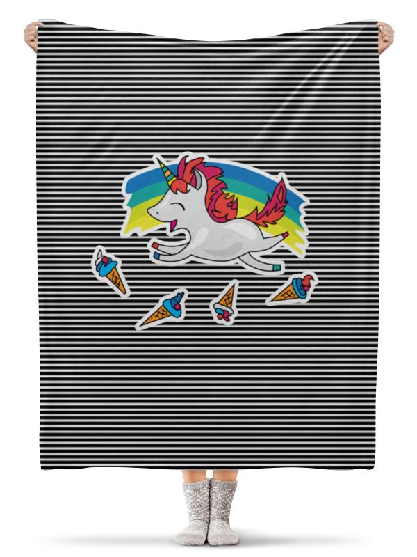 Плед флисовый 130х170 см Printio Милый единорог на фоне радуги, с мороженым krooom krooom детский игрушечный магазин тележка с мороженым