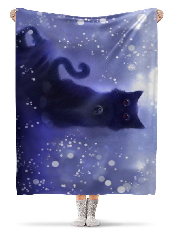 Плед флисовый 130х170 см Printio Черный кот homegeek белый черный