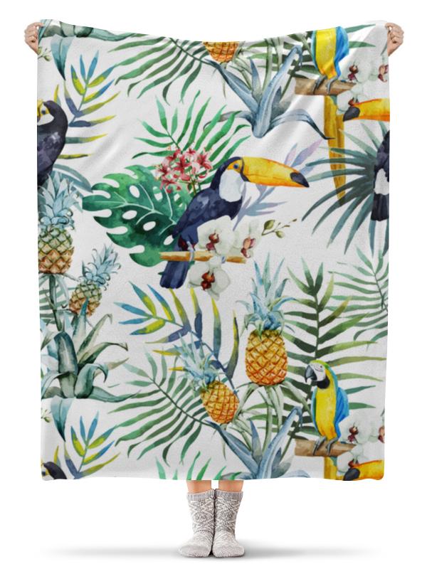 Плед флисовый 130х170 см Printio Тропические птицы