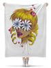 """Плед флисовый 130х170 см """"Без ума от цветов"""" - любовь, девушка, цветы, сердца, блондинка"""