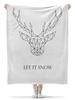 """Плед флисовый 130х170 см """"Dear Deer"""" - рисунок, дизайн, олень, минимализм, рога"""