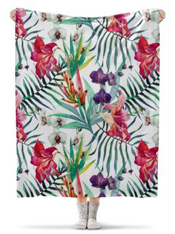 """Плед флисовый 130х170 см """"Тропические цветы"""" - милый, лето, пальма, орхидея, женственно"""
