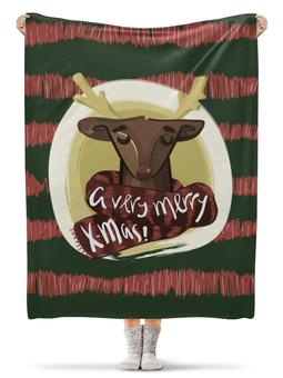 """Плед флисовый 130х170 см """"A very merry X-Mas"""" - подарок, олень, deer, merry christmas"""