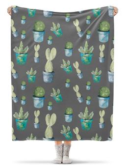 """Плед флисовый 130х170 см """"Кактусы"""" - цветок, зеленый, природа, кактус"""