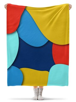 """Плед флисовый 130х170 см """"Разноцветная абстракция"""" - разноцветный, стиль, рисунок, узор, абстрактный"""