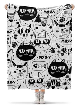 """Плед флисовый 130х170 см """"Котики"""" - узор, стиль, рисунок, коты, кошачий"""
