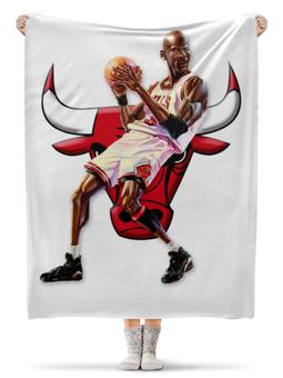 """Плед флисовый 130х170 см """"Michael Jordan Cartooney"""" - 23, чикаго, бык, chicago bulls, джордан"""
