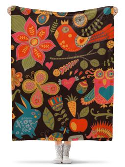 """Плед флисовый 130х170 см """"птичка и цветы"""" - бабочка, цветы, животные, природа, птичка"""