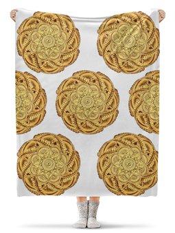 """Плед флисовый 130х170 см """"Золотые цветы мехенди"""" - орнамент, этно, индийский, мехенди"""