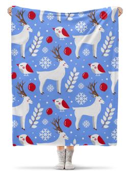 """Плед флисовый 130х170 см """"Олени"""" - новый год, снежинки, олень"""