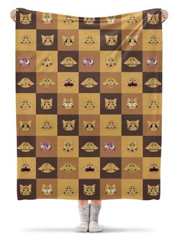 """Плед флисовый 130х170 см """"кошки"""" - коты, квадраты, абстракция, стиль"""