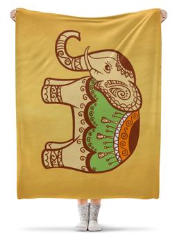 """Плед флисовый 130х170 см """"Индийский слон"""" - стиль, йога, рисунок, слон, индия"""
