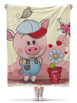 """Плед флисовый 130х170 см """"Поросёнок"""" - новый год, свинья, 2019, свин, год свиньи"""