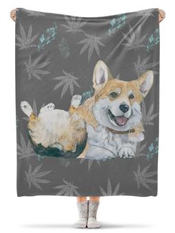 """Плед флисовый 130х170 см """"Волшебный лес"""" - зима, собака, новыйгод, корги, вельшкорги"""