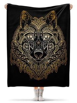 """Плед флисовый 130х170 см """"Голова волка"""" - животное, волк"""