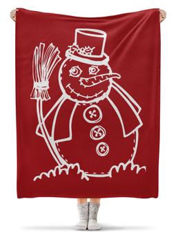 """Плед флисовый 130х170 см """"Снеговик"""" - новый год, рисунок, рождество, снеговик, новогодний"""