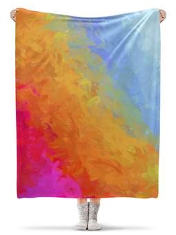 """Плед флисовый 130х170 см """"Яркий радужный дизайн с надписью Summer"""" - арт, радуга, яркий, акварель, градиент"""