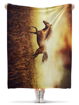 """Плед флисовый 130х170 см """"Лошадь"""" - лошадь, фото"""