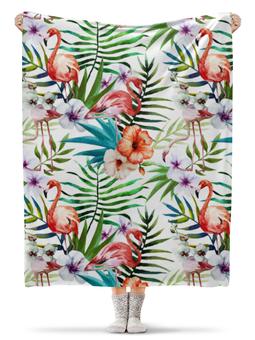 """Плед флисовый 130х170 см """"Фламинго"""" - лето, море, птицы, растения, тропики"""