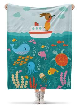 """Плед флисовый 130х170 см """"Морская прогулка"""" - кораблик, заяц, черепаха, морской, детский рисунок"""