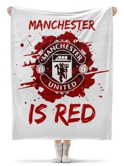 """Плед флисовый 130х170 см """"Манчестер Юнайтед"""" - манчестер юнайтед, manchester united, футбольный клуб, красные дьяволы, мю"""