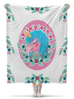 """Плед флисовый 130х170 см """"Милый мультяшный очаровательный единорог"""" - лошадь, красивый, сказка, иллюстрация, мульт"""