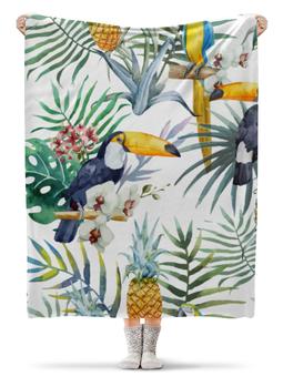 """Плед флисовый 130х170 см """"Пеликан и ананасы"""" - красиво, птицы, природа, ананас, пеликан"""
