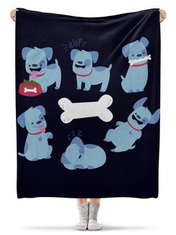 """Плед флисовый 130х170 см """"Смешные собаки"""" - щенок, собака, 2018, год собаки, косточка"""