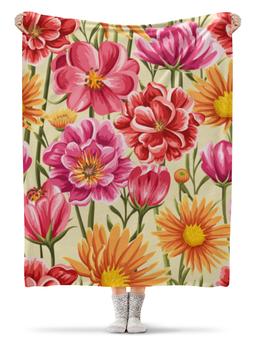 """Плед флисовый 130х170 см """"Садовые цветы"""" - красиво, цветы, ярко, природа, садовые цветы"""