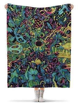 """Плед флисовый 130х170 см """"Triposphere 2.0"""" - мультик, psy, психоделика, doodling, дудлинг"""