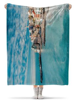 """Плед флисовый 130х170 см """"Италия"""" - солнце, море, отдых, небо, маленькая италия"""
