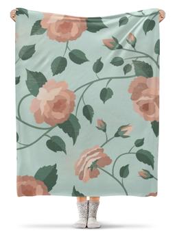 """Плед флисовый 130х170 см """"Розочки"""" - цветы, рисунок, розы, батик, ручная роспись"""