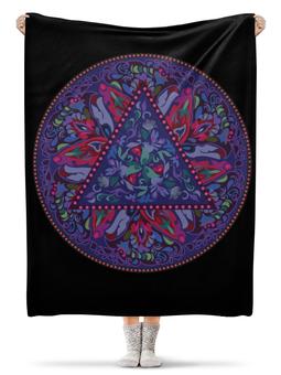 """Плед флисовый 130х170 см """"Мандала, фиолетовый круговой орнамент"""" - цветочный, модный, фиолетовый, узор, паттерн"""