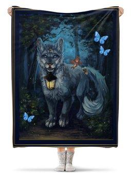 """Плед флисовый 130х170 см """"КОТ - БАЮН"""" - фонарь, эльф, ночь, волшебный лес, стиль"""