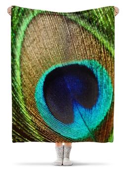 """Плед флисовый 130х170 см """"Перо Павлина"""" - арт, перо, павлин, яркая"""