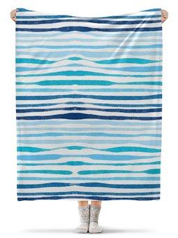 """Плед флисовый 130х170 см """"Акварельный"""" - голубой, узор, акварельный, волнистый, абстрактный"""