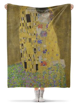 """Плед флисовый 130х170 см """"Поцелуй (картина Климта)"""" - золото"""