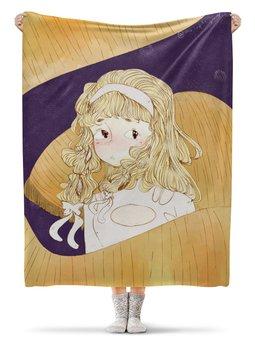 """Плед флисовый 130х170 см """"авторская работа иллюстрация аниме"""" - цветы, комиксы, мульт, кистью, графичный"""