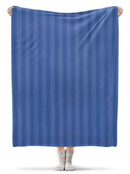 """Плед флисовый 130х170 см """"В полоску"""" - полоска, голубой, рисунок, синий, неровный"""