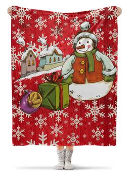 """Плед флисовый 130х170 см """"Снеговик"""" - новый год, год собаки, 2018, снеговик, праздник"""