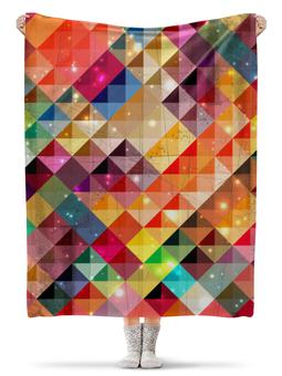 """Плед флисовый 130х170 см """"разноцветные треугольники"""" - арт, цвета, треугольники"""